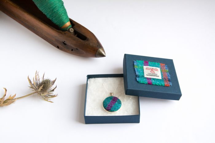 turquoise check pattern harris tweed pendant necklace