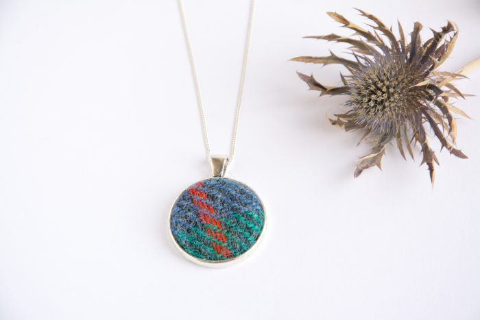 Blue and green Harris Tweed necklace