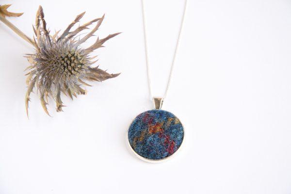 Navy blue harris tweed necklace