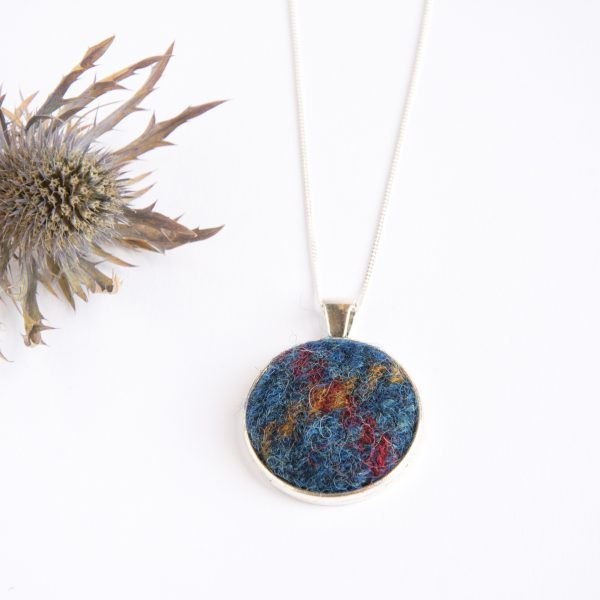 Navy blue harris tweed necklace