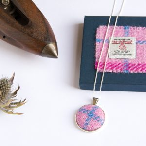 pink check necklace