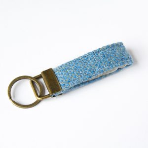 harris tweed light blue key fob