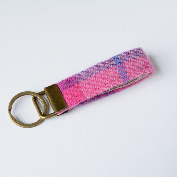 harris tweed pink check key fob