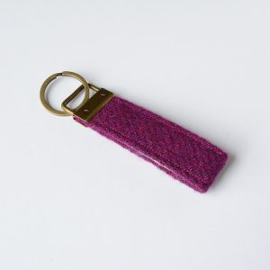 harris tweed plum colour key fob
