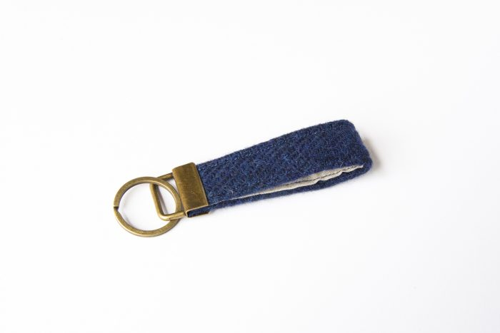 harris tweed navy blue key fob