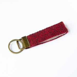 harris tweed red herringbone key fob