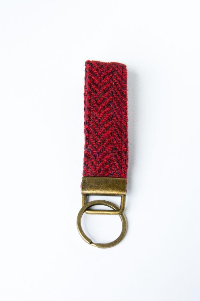 harris tweed red herringbone key fob