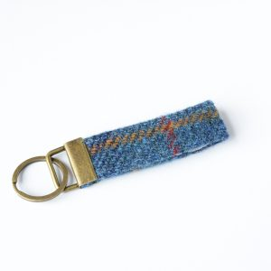 harris tweed navy check key fob