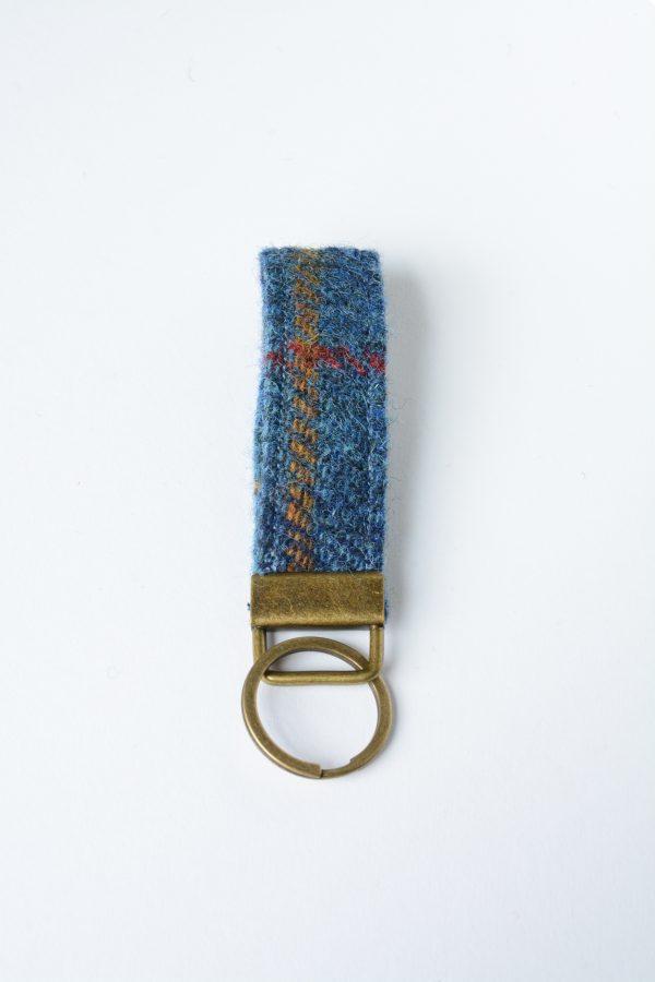 harris tweed navy check key fob