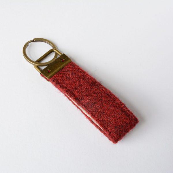 harris tweed plain red key fob