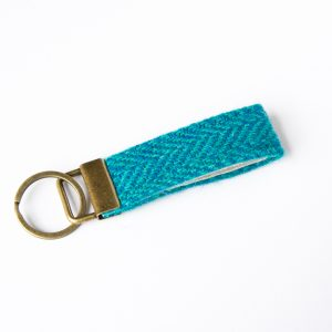 harris tweed turquoise herringbone key fob
