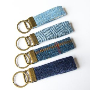 harris tweed blue herringbone key fob