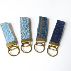 harris tweed navy blue key fob