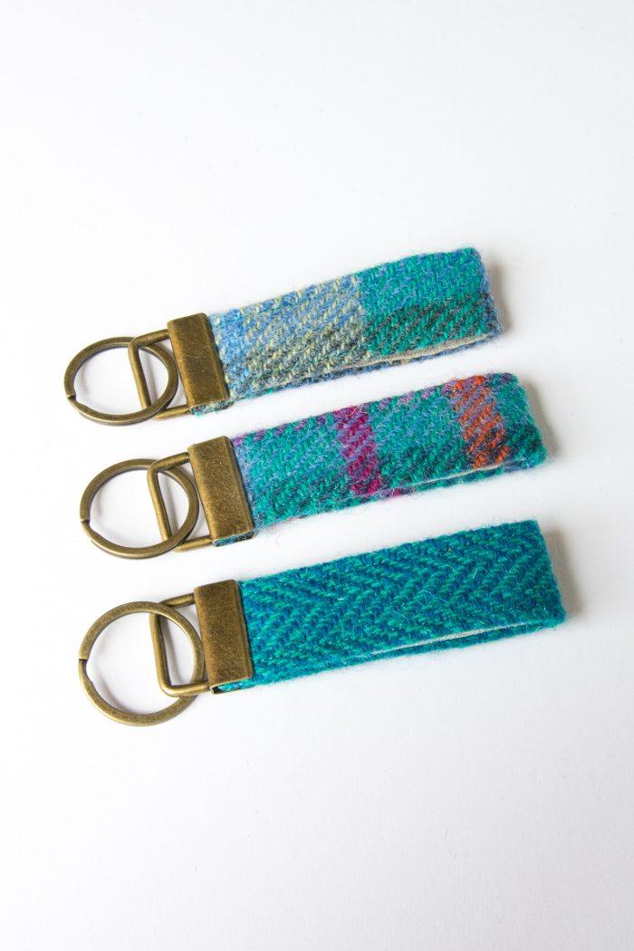 harris tweed blue herringbone key fob