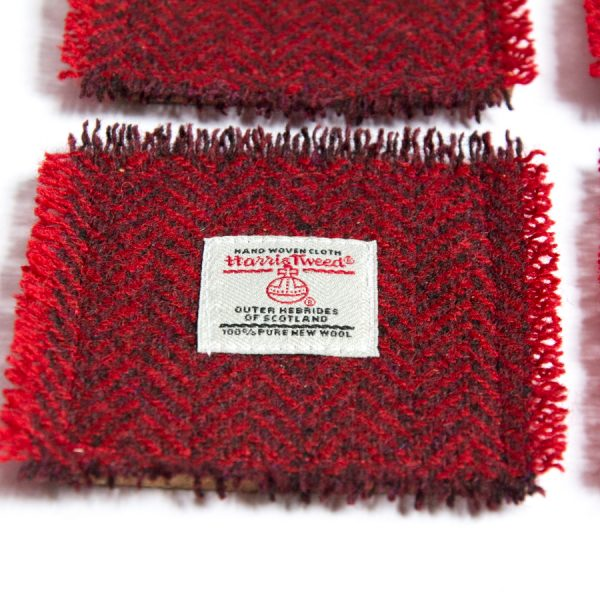 harris tweed red herringbone coasters
