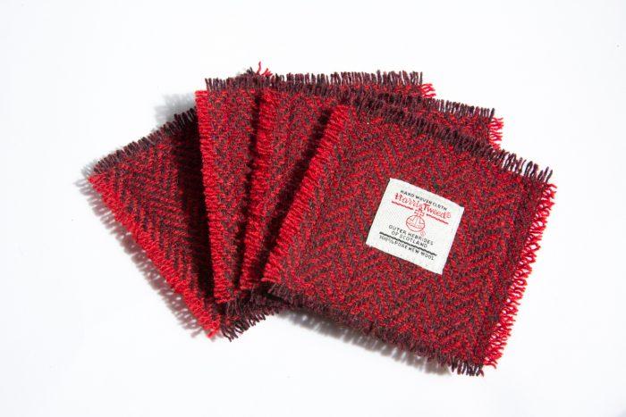 harris tweed red herringbone coasters