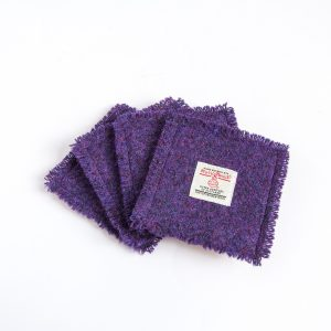 harris tweed purple coasters