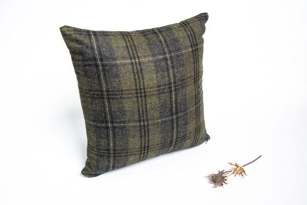 green and black check tweed herringbone cushion cover