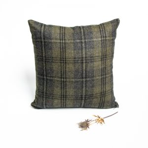 green and black check tweed herringbone cushion cover