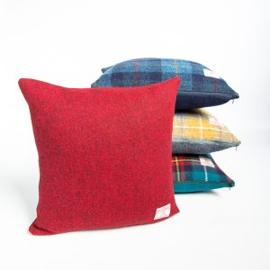 harris tweed red herringbone cushion cover