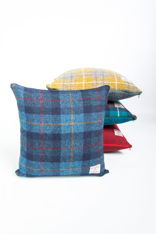 harris tweed navy check cushion cover