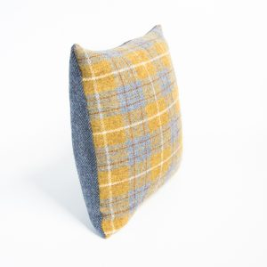 harris tweed mustard and grey check cushion cover