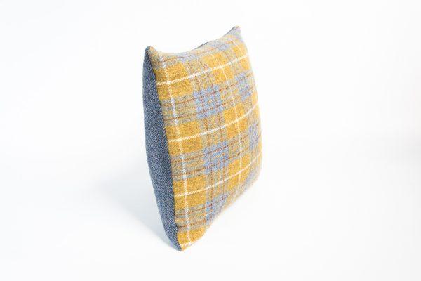 harris tweed mustard and grey check cushion cover