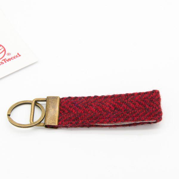 Red herringbone Harris Tweed keyring