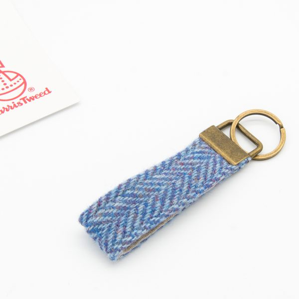 Light blue herringbone Harris Tweed keyring