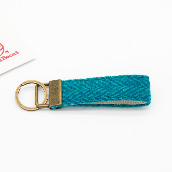 Turquoise herringbone Harris Tweed keyring