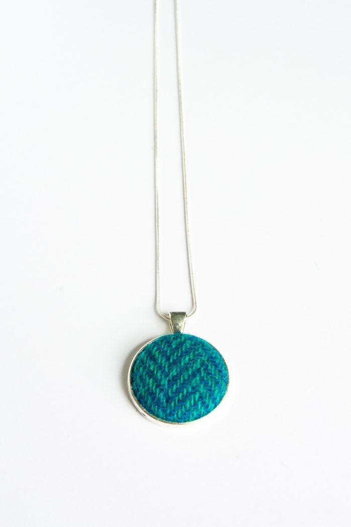 turquoise herringbone harris tweed necklace