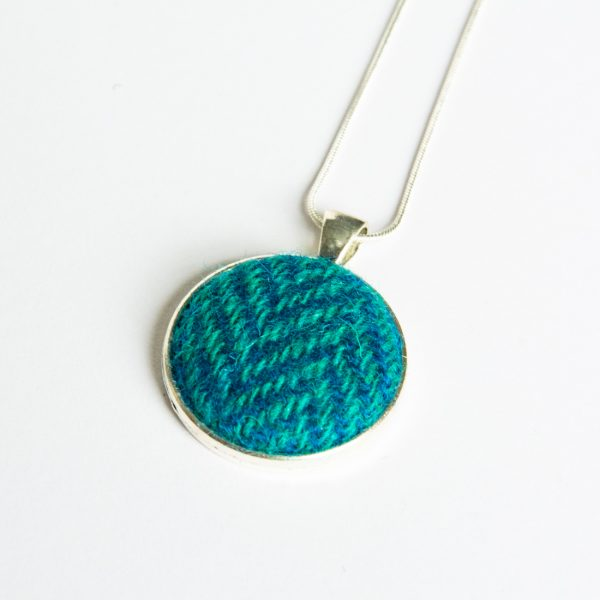 turquoise herringbone harris tweed necklace