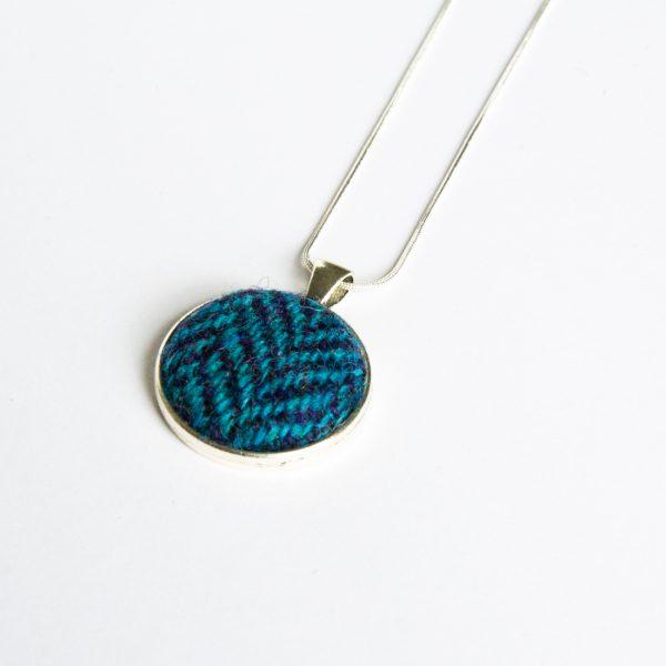 blue herringbone harris tweed necklace