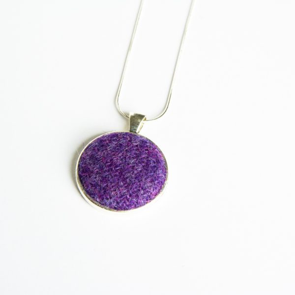 Purple Harris Tweed Necklace
