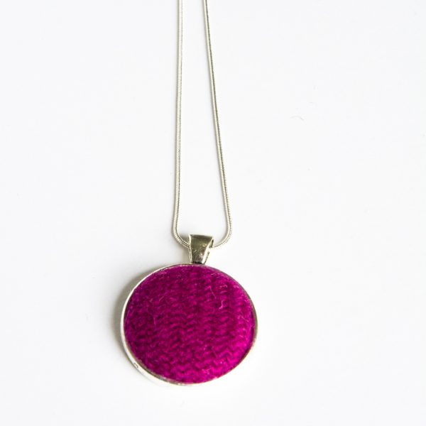 Raspberry Harris Tweed necklace