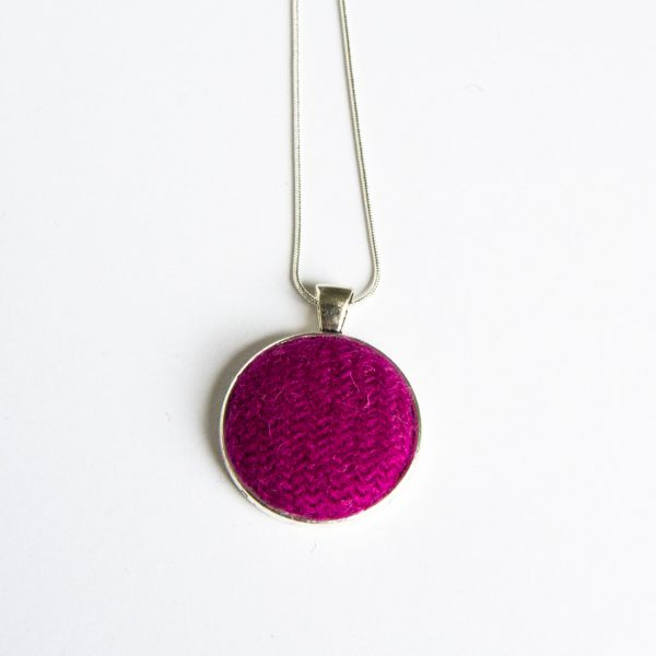 Raspberry Harris Tweed necklace