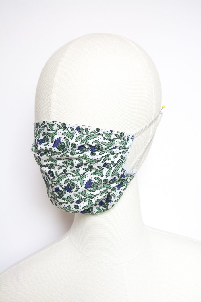 navy thistle print face mask