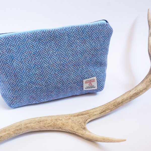 harris tweed wash bag blue herringbone