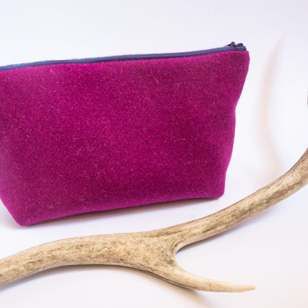 harris tweed wash bag pink purple and teal houndstooth