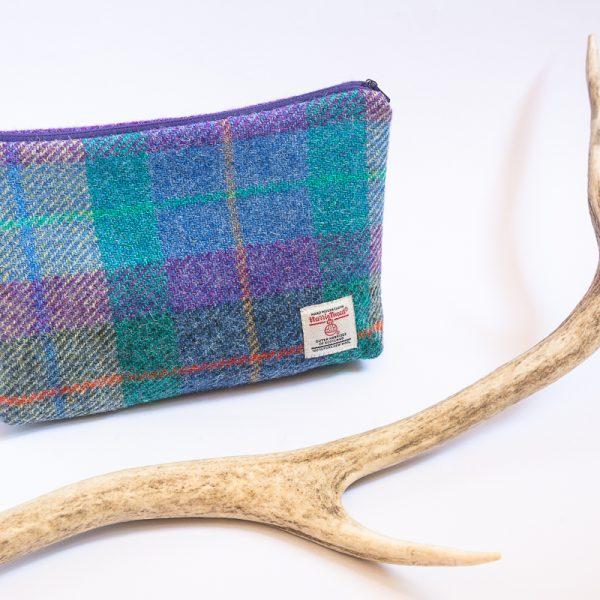 harris tweed wash bag purple and blue check