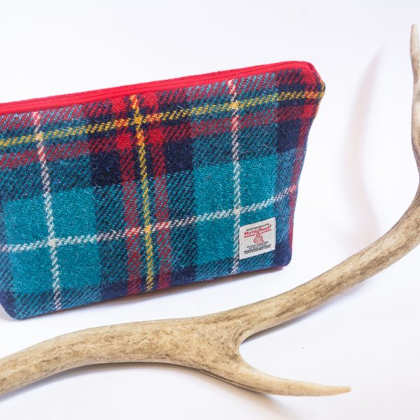 harris tweed wash bag check turquoise