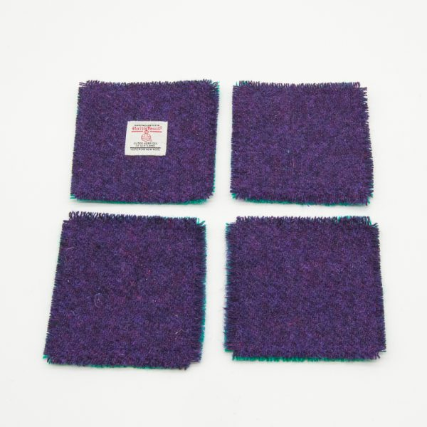 Plain green and purple Harris Tweed coasters
