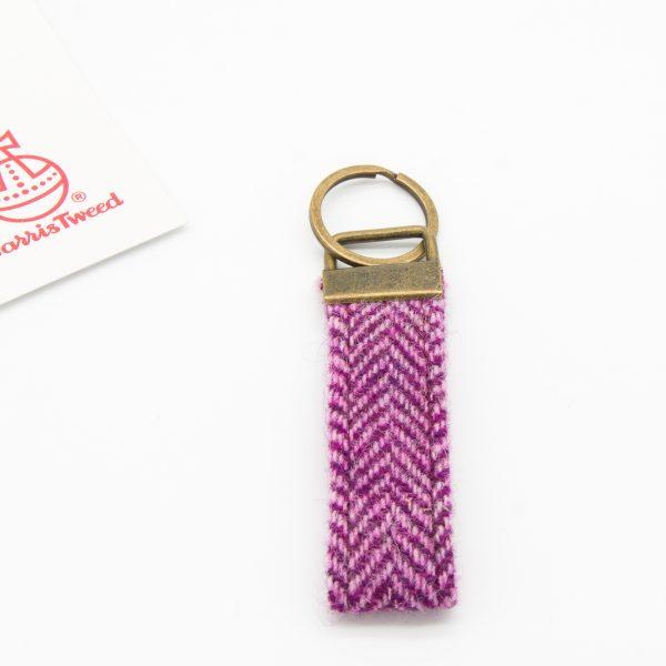 Harris Tweed keyring pink herringbone