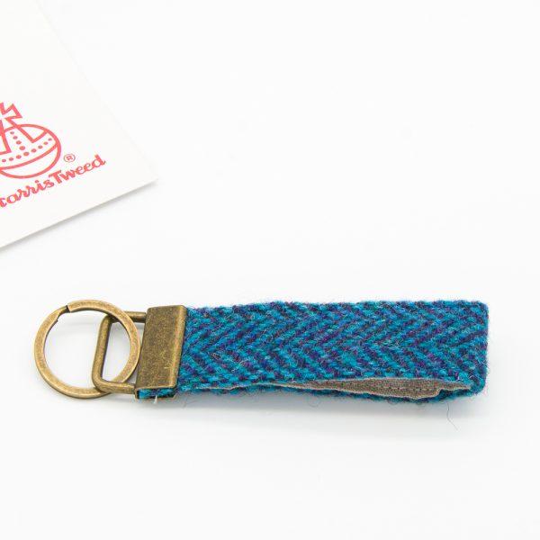 Dark blue herringbone Harris Tweed keyring