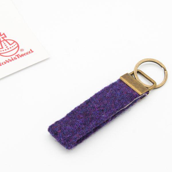 Purple Harris Tweed keyring