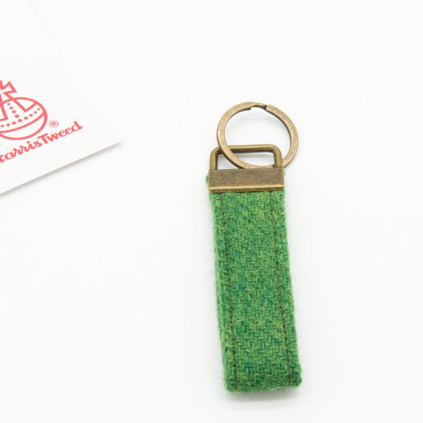 Green harris tweed keyring