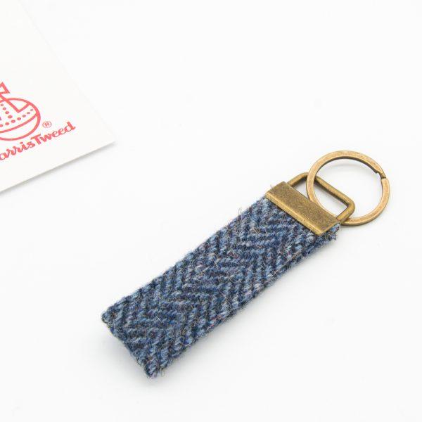 Harris Tweed keyring grey herringbone