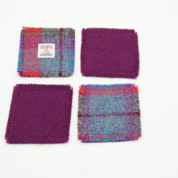 Pink and grey check Harris Tweed cosaters