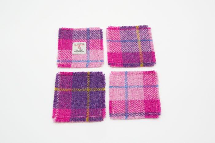 Harris Tweed coaster - pink check