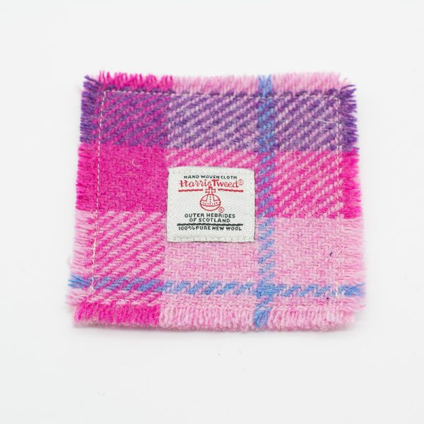 Harris Tweed coaster - pink check